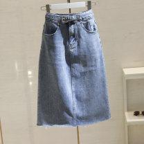 skirt Summer 2021 S,M,L,XL blue longuette commute High waist A-line skirt Solid color Type A 25-29 years old 51% (inclusive) - 70% (inclusive) Denim cotton pocket Korean version