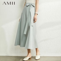 skirt Autumn 2020 Mid length dress commute Natural waist A-line skirt Solid color Type A 18-24 years old More than 95% other Amii cotton Simplicity Cotton 100% Same model in shopping mall (sold online and offline)