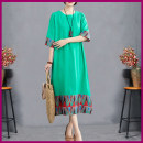 Dress Summer 2021 green M,L,XL,2XL longuette singleton  Short sleeve commute Crew neck Loose waist Solid color Socket A-line skirt routine Others Type A ethnic style Pockets, stitching 51% (inclusive) - 70% (inclusive) other cotton