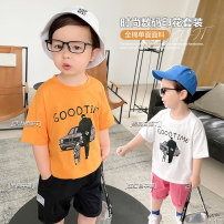 T-shirt Small die 80CM,90CM,100CM,110CM,120CM,130CM,140CM male summer Short sleeve Crew neck leisure time There are models in the real shooting nothing Cotton blended fabric other other 2 years, 3 years, 4 years, 5 years, 6 years, 12 months, 18 months