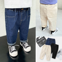 trousers Small die male 80cm,90cm,100cm,110cm,120cm,130cm Black, white, denim, pre-sale spring and autumn trousers leisure time There are models in the real shooting Casual pants Leather belt middle-waisted Cotton blended fabric Open crotch Other 100% X1600