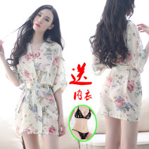 Nightdress Other / other Suitable for 80-110 Jin, 100-120 Jin, 110-130 Jin sexy Short sleeve Living clothes UltraShort  summer Plants and flowers youth Shirt collar printing More than 95% Chiffon 200g and below