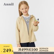 Plain coat Annil / anel female 110cm 120cm 130cm 140cm 150cm 160cm 170cm Light wheat apricot rice white spring and autumn leisure time Zipper shirt There are models in the real shooting routine No detachable cap Cotton blended fabric EG115027 Cotton 83.4% polyester 16.6% Spring 2021