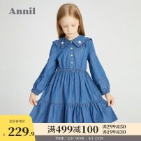 Dress Blue denim female Annil / anel 110cm 120cm 130cm 140cm 150cm 160cm Cotton 100% spring and autumn leisure time Long sleeves Solid color cotton Lotus leaf edge EG113039 Spring 2021 Chinese Mainland Guangdong Province Dongguan City