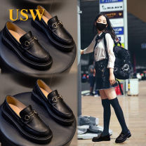 Low top shoes 35 36 37 38 39 40 USW black Round head Double skin mulching Slope heel Middle heel (3-5cm) Shallow mouth Superfine fiber Spring 2021 Trochanter leisure time Adhesive shoes Youth (18-40 years old) Solid color rubber Single shoes Microfiber skin leisure time kh212304 Face dressing Women's
