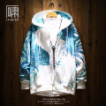Sweater Fashion City Xiaodu Blue Green Blue Plush S M L XL Plants and flowers Cardigan routine Hood autumn easy leisure time youth tide routine J19IN8064 Cotton polyester Cotton 90% polyethylene terephthalate (polyester) 10% printing washing Autumn of 2019 Side seam pocket Japanese and Korean style