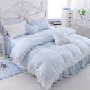 Bedding Set / four piece set / multi piece set cotton other Solid color 133x72 Other / other cotton 4 pieces 40 1.2m (4 ft) bed, 1.5m (5 ft) bed, 1.8m (6 ft) bed, 2.0m (6.6 ft) bed, 2.2m (7 ft) bed, others Bed skirt Qualified products Princess style 100% cotton twill Reactive Print