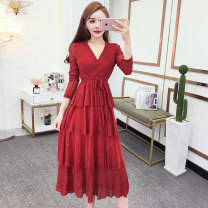 Dress Spring 2020 Pink, Burgundy, black S,M,L,XL longuette singleton  Long sleeves commute V-neck High waist Solid color zipper Cake skirt routine Other / other Korean version