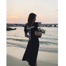 Dress Summer 2020 Black short [high quality stock], black long [high quality stock], collect baby to join the shopping cart priority delivery S,M,L,XL Mid length dress singleton  Short sleeve commute square neck Solid color Socket Type A Simplicity