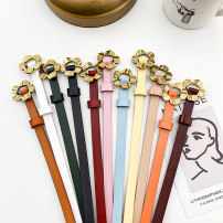 Belt / belt / chain Double skin leather Black white pink green apricot deep red light red orange brown blue female belt Versatile Single loop Youth Smooth button Flower design Glossy surface 1cm alloy flower LATIN EAGLE F155 105cm Summer 2020