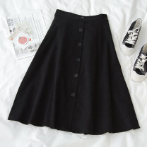 skirt Spring 2021 Average size black Mid length dress commute High waist A-line skirt Solid color Type A 18-24 years old 71% (inclusive) - 80% (inclusive) polyester fiber Button