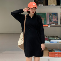 Dress Spring 2021 Apricot, black, haze blue Average size Mid length dress singleton  Long sleeves commute Polo collar High waist Solid color Socket A-line skirt routine Others 18-24 years old Type A Korean version 51% (inclusive) - 70% (inclusive) other polyester fiber