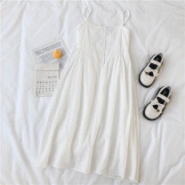 Dress Spring 2021 white S,M,L longuette singleton  Sleeveless Sweet square neck High waist Solid color Socket A-line skirt routine camisole 18-24 years old Type A 71% (inclusive) - 80% (inclusive) brocade polyester fiber solar system