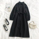 Dress Spring 2021 Black, apricot Average size Mid length dress singleton  Long sleeves Polo collar Loose waist Solid color Single breasted A-line skirt routine 18-24 years old Type A Button, lace up QD 71% (inclusive) - 80% (inclusive) polyester fiber