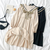 Dress Spring 2021 Black, apricot Average size longuette singleton  Long sleeves commute Admiral High waist Solid color Socket A-line skirt routine 18-24 years old Type A Korean version 71% (inclusive) - 80% (inclusive) brocade polyester fiber