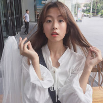 Lace / Chiffon Spring 2021 White, black, khaki, sapphire Average size Long sleeves commute Socket singleton  easy Regular Doll Collar Solid color Princess sleeve 18-24 years old Other / other Lace up, Ruffle Korean version 30% and below