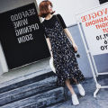 Lace / Chiffon Summer 2020 black S,M,L,XL,2XL,3XL Short sleeve commute Socket Two piece set easy Medium length V-neck other routine 25-29 years old Korean version 51% (inclusive) - 70% (inclusive) cotton
