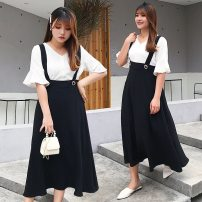 Women's large Summer 2020 Black strap skirt 2028, white with 2027, 2-piece suit 2027 + 2028 2XL reference weight 155-185 Jin, 3XL reference weight 185-215 Jin, XL reference weight 120-155 Jin, 4XL reference weight 215-245 Jin Dress commute Solid color Fenghuang Yiwu 18-24 years old