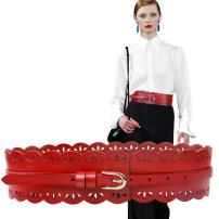 Belt / belt / chain Double skin leather Grey red black female Waistband Versatile Single loop Young people Pin buckle Glossy surface Glossy surface 7cm