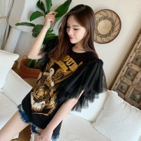 T-shirt Eagle puff sleeve Average size Summer 2021 Short sleeve Crew neck Straight cylinder Regular Flying sleeve street cotton 96% and above 25-29 years old originality Animal patterns, geometric patterns, letters, solid colors, stitching 278648242 Rock and roll