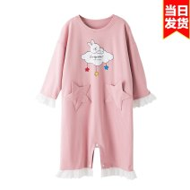 Home skirt / Nightgown Legend of bear Cotton 100% Pink cloud rabbit [spring summer and autumn can be worn] pink rabbit [cotton fabric does not pilling not deformation] Pink Panda [anti kick stomach] to prevent colds, yellow little girl [tiktok] summer female Class B cotton XXLQT01 Summer 2020
