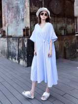 Dress Summer of 2018 wathet Average size Mid length dress singleton  Short sleeve commute V-neck middle-waisted stripe Socket Irregular skirt other Others 25-29 years old Type X JfYanYan literature Pleating, pocket, stitching, asymmetry, 3D 18SS001 81% (inclusive) - 90% (inclusive) brocade cotton