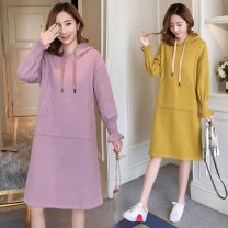 Dress Summer 2020 Lotus color gold M L XL XXL Miniskirt Long sleeves Crew neck Solid color 18-24 years old Cattle nest hzP2l More than 95% other Other 100%