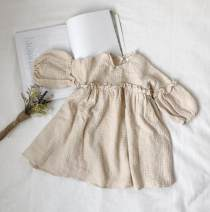 Dress Off white female Other / other 80cm,90cm,100cm,110cm,120cm,130cm Cotton 50% LINEN 50% spring and autumn Korean version Long sleeves Solid color Cotton and hemp A-line skirt 2 years old, 3 years old, 4 years old, 5 years old, 6 years old, 7 years old, 8 years old