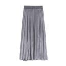 skirt Autumn 2020 S,M,L,XL longuette Versatile High waist Pleated skirt Solid color Type A Lady Boya