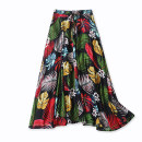 skirt Spring 2021 S,M,L,XL,2XL White flowers, black flowers, Tibetan blue and white flowers longuette High waist Decor Lady Boya Pocket, print