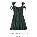 Dress Summer 2020 blackish green S,M,L Short skirt singleton  commute High waist Solid color camisole Retro 71% (inclusive) - 80% (inclusive)