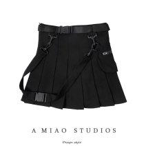 skirt Autumn of 2019 XS,S,M,L Gray, black Short skirt High waist 71% (inclusive) - 80% (inclusive)