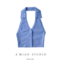 Vest sling Spring 2021 Blue, black, beige S, M singleton  routine Self cultivation street Hanging neck style Solid color 71% (inclusive) - 80% (inclusive)