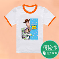 T-shirt Other / other 90cm,100cm,110cm,120cm,130cm,140cm,150cm,160cm,170cm,175cm,180cm,185cm neutral summer Short sleeve Crew neck leisure time No model nothing Cartoon animation Cotton 100% Class A Sweat absorption