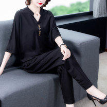 Women's large Summer 2020 Black suit (long sleeve) green suit black suit L (100-118 kg) XL (118-132 kg) 2XL (132-145 kg) 3XL (145-160 kg) 4XL (160-180 kg) Other oversize styles Two piece set commute easy moderate Socket Short sleeve Solid color Korean version Half open collar routine other Yingyue