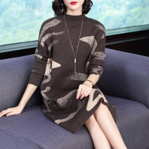 Dress Winter of 2019 Picture color M L XL 2XL 3XL 4XL Mid length dress singleton  Long sleeves commute Crew neck Loose waist Abstract pattern Socket other routine Others 35-39 years old Type A Yingyue lady 31% (inclusive) - 50% (inclusive) other polyester fiber Viscose (viscose) 65% polyester 35%