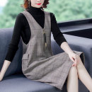 Women's large Winter 2020 Sweater + vest skirt M L XL 2XL 3XL 4XL Dress Two piece set commute easy moderate Socket Long sleeves lattice Korean version Crew neck Medium length other Three dimensional cutting routine Yingyue 35-39 years old Three dimensional decoration Medium length other