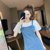 Dress Summer 2020 White top one piece strap Skirt Top + strap skirt [two piece set] S M L XL 2XL Middle-skirt singleton  Sleeveless commute One word collar middle-waisted Solid color other One pace skirt other straps 18-24 years old Type A Han Xueren Korean version HXRXT652 Denim cotton