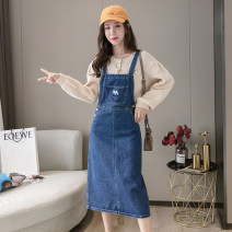 Dress Autumn 2020 blue XS S M L longuette singleton  Sleeveless commute One word collar High waist Solid color Socket A-line skirt other camisole 18-24 years old Type A Han Xueren Korean version straps Real shot 3697# 51% (inclusive) - 70% (inclusive) Denim cotton Exclusive payment of tmall