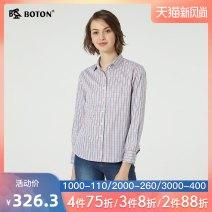 shirt Color grid M L XL XXL 3XL Summer of 2019 cotton 96% and above Long sleeves Versatile Regular V-neck lattice 18-24 years old Boton / Burton Cotton 100%