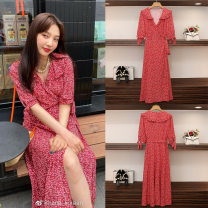 Dress Summer 2020 S,M,L,XL Mid length dress singleton  elbow sleeve commute V-neck High waist Decor other A-line skirt other Others 25-29 years old Type A Korean version 81% (inclusive) - 90% (inclusive) Chiffon other
