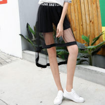 Casual pants black Average size Summer 2021 shorts Wide leg pants High waist commute routine 18-24 years old 31% (inclusive) - 50% (inclusive) other Korean version Hollowing out