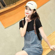 Dress Summer 2020 One piece denim skirt white t suit two piece set black t suit two piece set S M L XL XXL Short skirt Two piece set Short sleeve commute Crew neck Loose waist Solid color Socket A-line skirt routine straps 25-29 years old Head of stage Korean version Pocket with hand scratch pattern