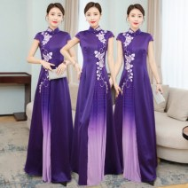 cheongsam Spring 2021 S. M, l, XL, 2XL, 3XL, 4XL, 5XL, quality goods in stock Purple, horse up 289 yuan! Sleeveless long cheongsam ethnic style High slit Oblique lapel Decor Over 35 years old Embroidery Other / other polyester fiber 96% and above