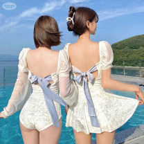 one piece  Swimming's first swimsuit experience M,L,XL White skirt, white triangle Skirt one piece With chest pad without steel support Nylon, spandex, others SW0049 female Long sleeves Casual swimsuit Solid color bow