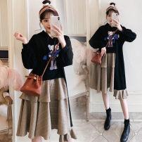 Dress Other / other black 40. XXL, XXXL, large 4XL, large 5XL Korean version Short sleeve Medium length autumn Crew neck Cartoon animation Pure cotton (95% and above)