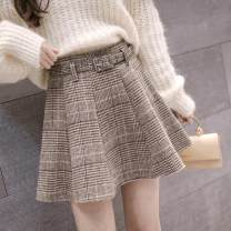 skirt Autumn 2020 S,M,L,XL,2XL Gray, coffee color, custom made special shooting! 300 pieces from special shooting Short skirt commute High waist Pleated skirt lattice Type A 18-24 years old Other / other Pleating, three-dimensional decoration, zipper Korean version