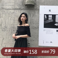 Dress Summer of 2018 White, black S, M Middle-skirt singleton  elbow sleeve commute One word collar middle-waisted Solid color Princess Dress 18-24 years old Type A Simplicity fold 91% (inclusive) - 95% (inclusive) polyester fiber