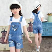 trousers Other / other female summer shorts There are models in the real shooting rompers Leather belt middle-waisted Cotton elastic denim Don't open the crotch Cotton 90% polyester 10% Class B Floret Suspenders Chinese Mainland Zhejiang Province Huzhou City