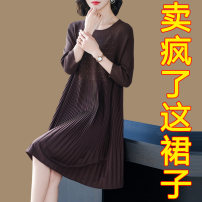 Dress Summer 2021 Brown Black M L XL 2XL 3XL Mid length dress singleton  three quarter sleeve commute Crew neck Loose waist Solid color Socket A-line skirt routine Others 35-39 years old Type A Aceyoung / Aoying Korean version Three dimensional mosaic decoration More than 95% knitting other